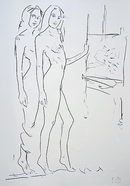 Studie einer Malerin vor Staffelei