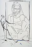 Maler, an einem Bildnis von Barbara Eden arbeitend