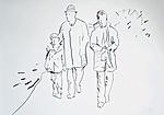 Der Künstler als Jugendlicher mit Vater und kleinem Bruder