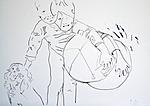 Der Künstler als Kind mit Hund und großem Ball