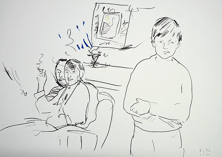 Der Künstler mit seinem Vater