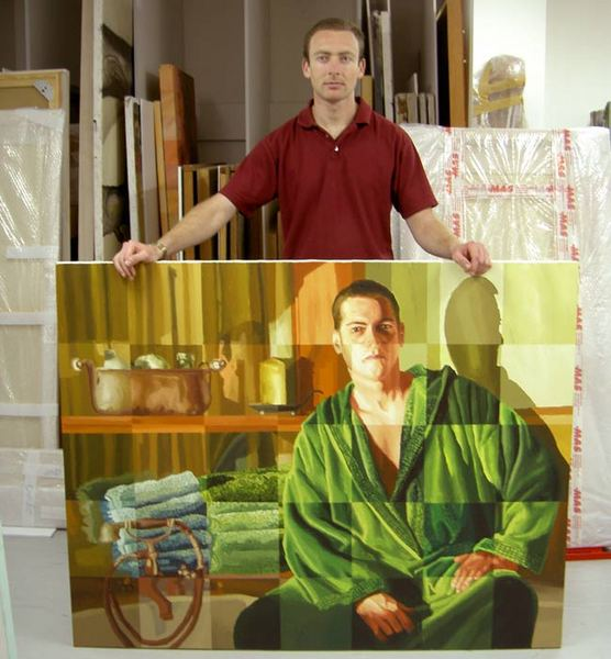 man in jaccuzzi paintings