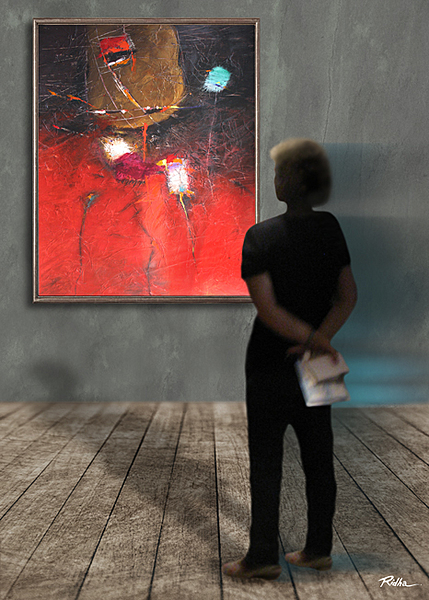 A lady stands in front of My painting-  Ridha H