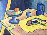 Still life with fish and lemons