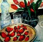 Sill-leben mit  Erdbeeren