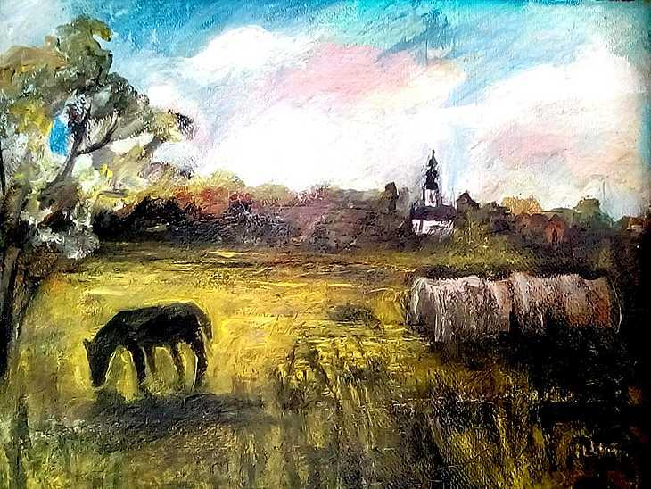 Südungarische Landschaft mit Pfers/ Mindsztent