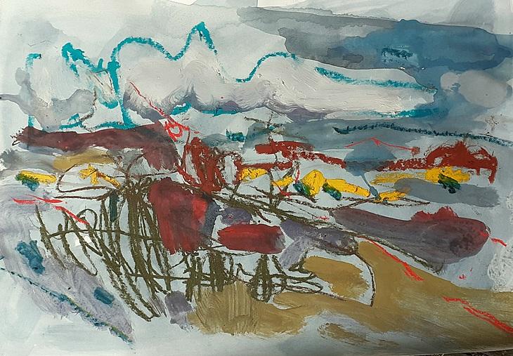 Strandhafer,rote Steine