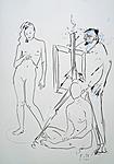 Maler mit Besucherinnen