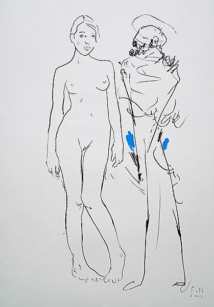 Maler mit Besucherin