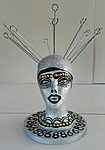 Styrofoam head mannequin markers, gold tucks acrylic painted