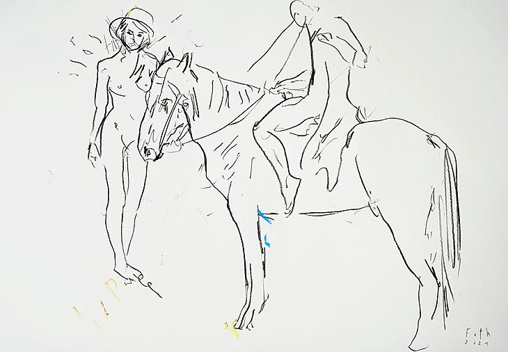 Begegnung mit Pferd
