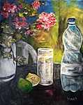 Sommerliches Stilleben mit Wasserflasche