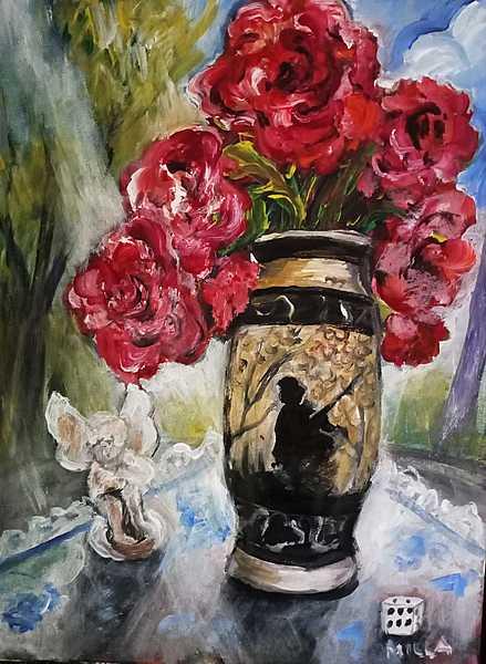 sommerliches Stilleben mit Rosen in chin. Vase