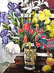 Stilleben, Lilien mit Zitronen