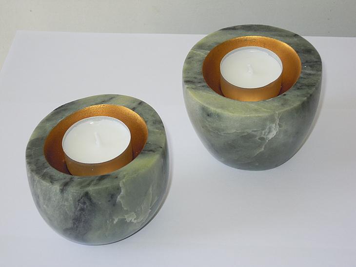 Teelichter grün, Goldpaste, 1