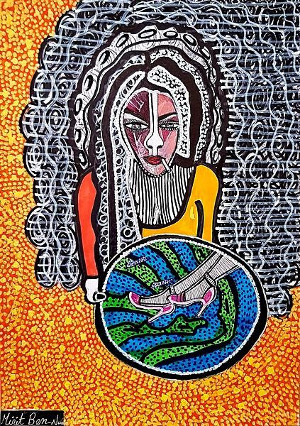Unique custom portraits modern artist Mirit Ben-Nun from Israel