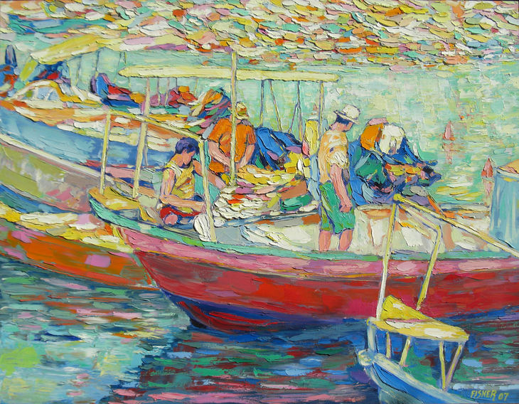 Thre men in two boats