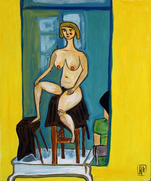 A sitting nude in yellow