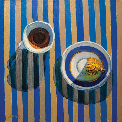 Still life with stripy tablecloth.