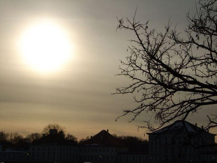 Nymphenburger Schloss bei Sonnenuntergang