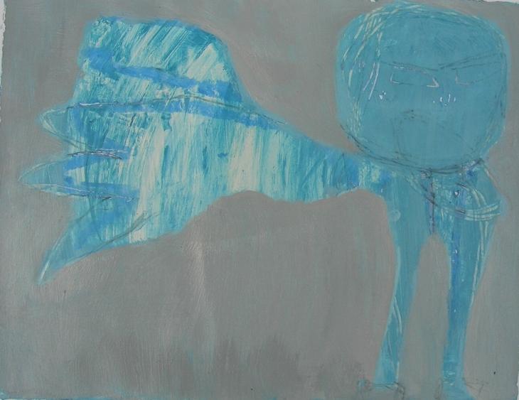 Zorniger blauer Vogel