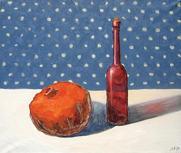 Still life with red Bottle.