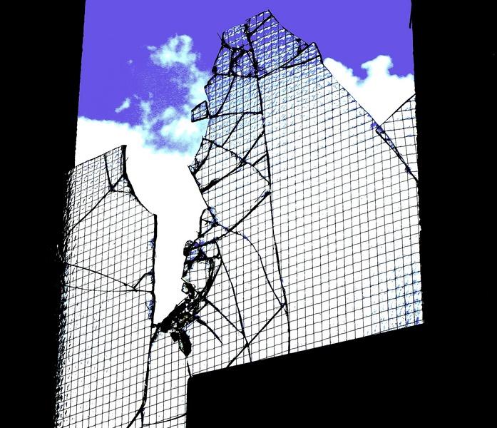 Broken glass Blue Sky