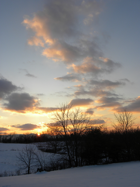 Cloudy Sunset After The Snowfall