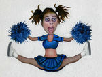 Psycho Cheerleader From Hell: Digital Photo Collage w/ Color Pen