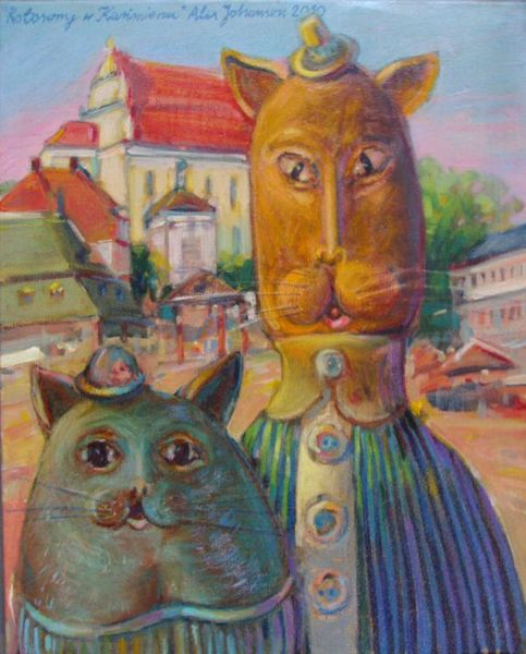 Cat...sons in Kazimierz, painting