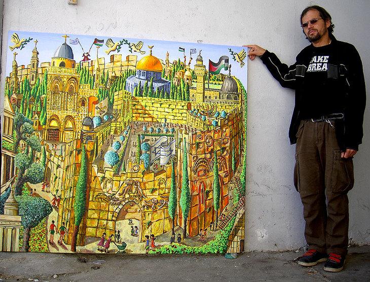 jerusalem naive painting by raphael perez