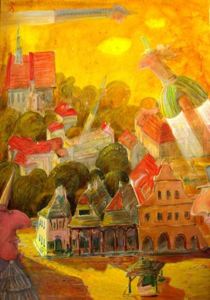 Landing in Kazimierz, painting