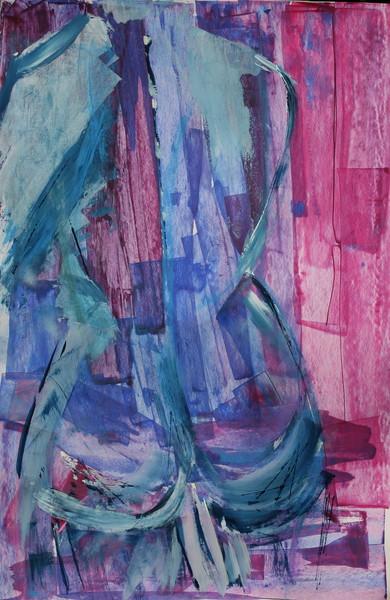 akt in blau und pink