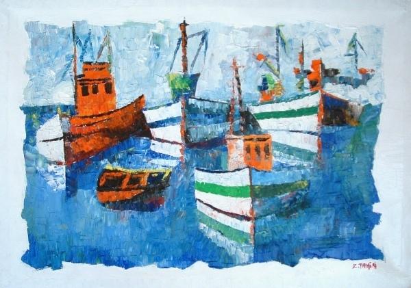 les barques(hommage de claude monet)