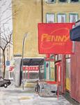 """Supermarkt mit rotem Schild, aus der Reihe """"Bilder von St. Georg"""
