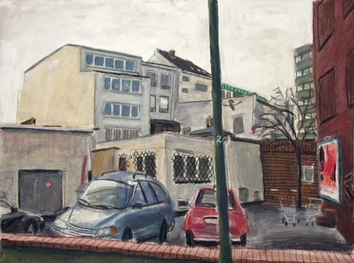 """Hinterhof mit Autos, aus der Reihe """"Bilder von St. Georg"""""""