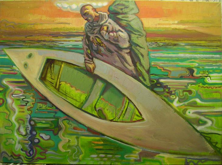 mann mit boot
