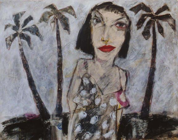 Frau unter Palmen