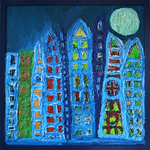 Moonlit Metropolis, non toxic hotglue and acrylic on wood