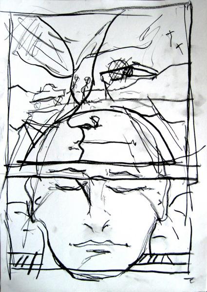 April Zeichnung mit Spaziergängern auf Hügel