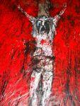 Akt Kreuzigung Acryl auf Tuch 220 x 145 cm