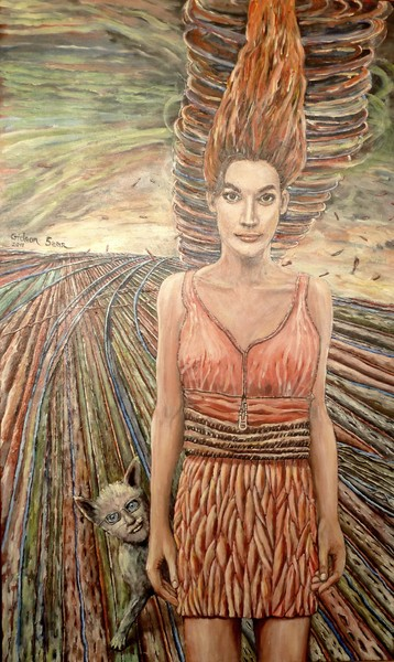 a girl and her cat ancle - israeli art. gideon saar
