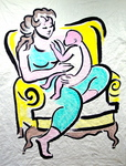 Mother & Child In Comfortable Yellow Chair