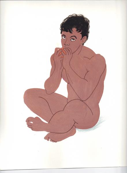 Young man eating an orange