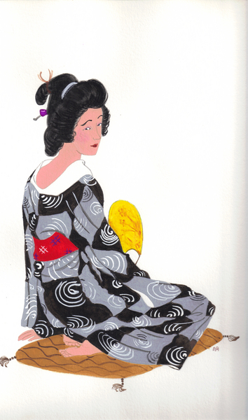 Woman in a black and grey print kimono.