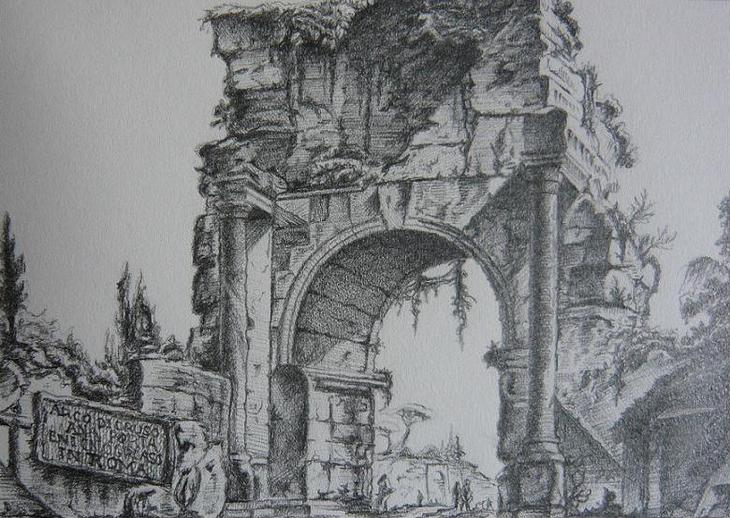 Arco di Druso after Piranesi