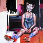 girl with red shoes