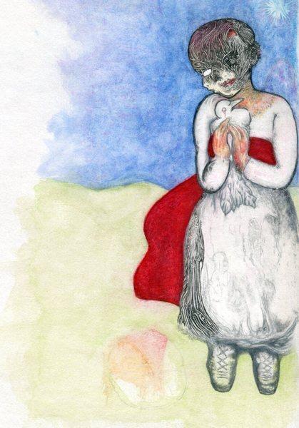 Taubes Mädchen mit rotem Tuch