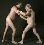 two older gay couple wrestling homosexual art queer artworks