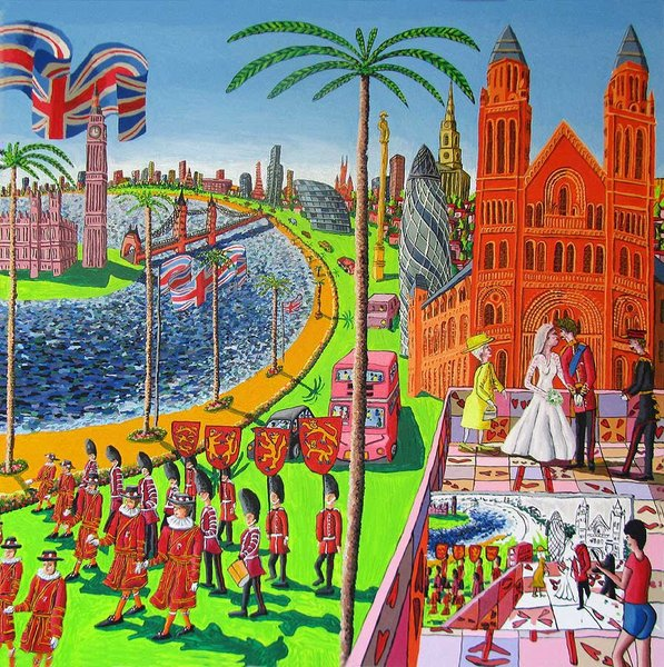 the wedding of Prince Williams and Kate naive painting